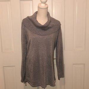 Michael Kors silver metallic cowl neck sweater XL